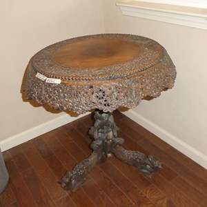 Lot # 262 - Unique Antique Oriental Hand Carved Ornate Pictorial Accent Table