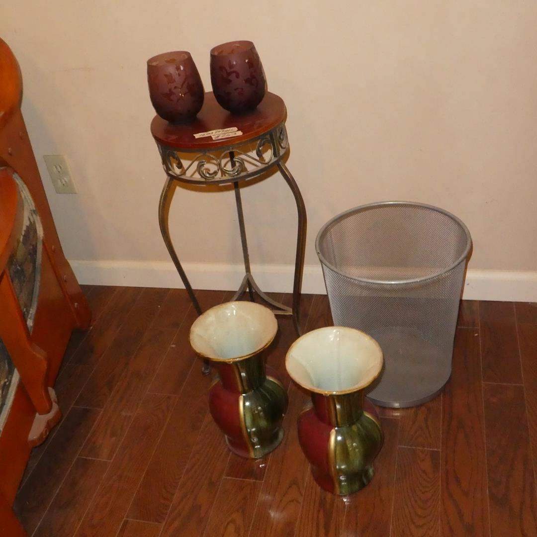 Lot # 263 - Pair Candle Holders, Plant Stand, Pair Red Green Ceramic Vases & Mesh Waste Paper Basket (main image)