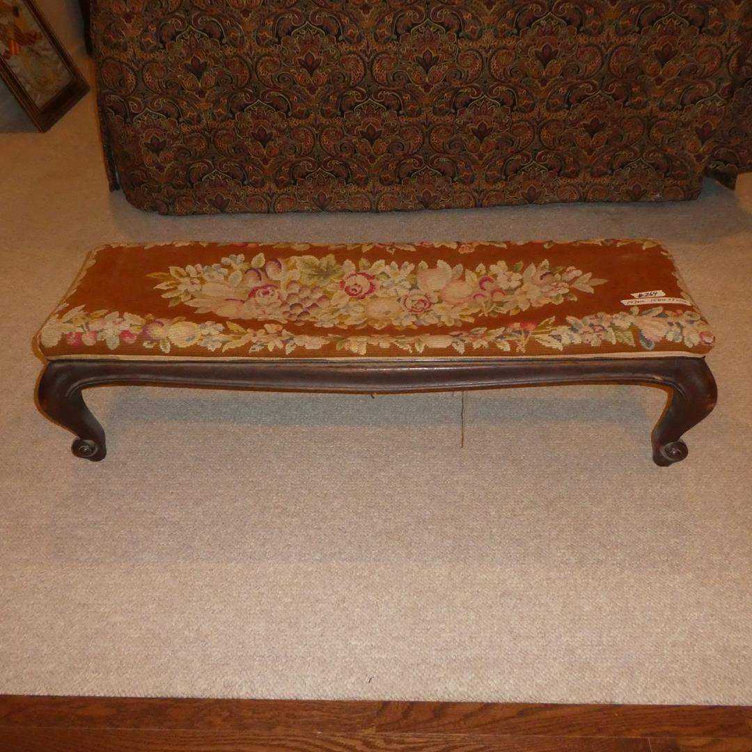 Lot # 264 - Antique Needlepoint Bench Cahoon Transfer & Stage Co. (main image)