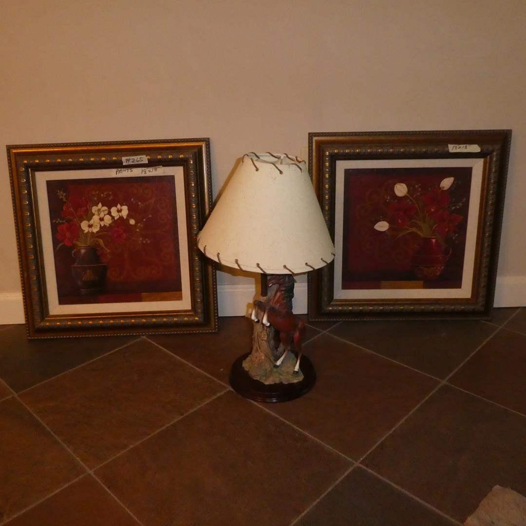 Lot # 265 - Resin Horse Dresser Lamp & Two Framed Floral Prints (main image)