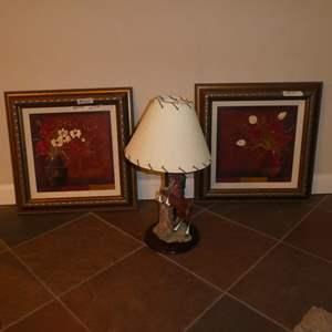 Lot # 265 - Resin Horse Dresser Lamp & Two Framed Floral Prints