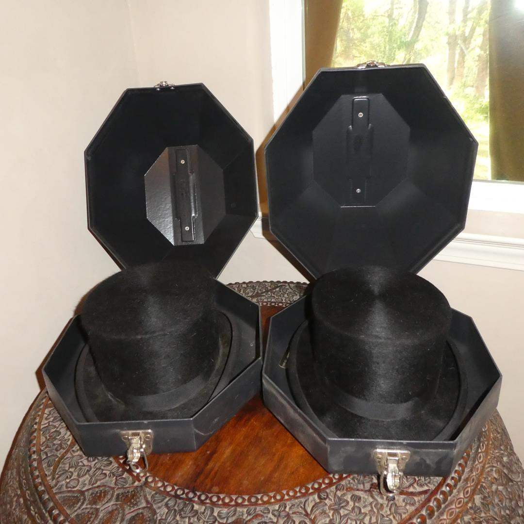 Lot # 266 - Two Vintage Christys' London Made in England Top Hats in Plastic Hat Storage Boxes (main image)
