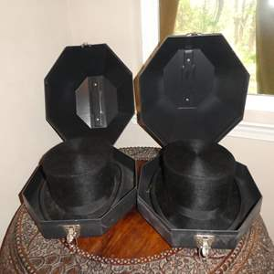 Lot # 266 - Two Vintage Christys' London Made in England Top Hats in Plastic Hat Storage Boxes