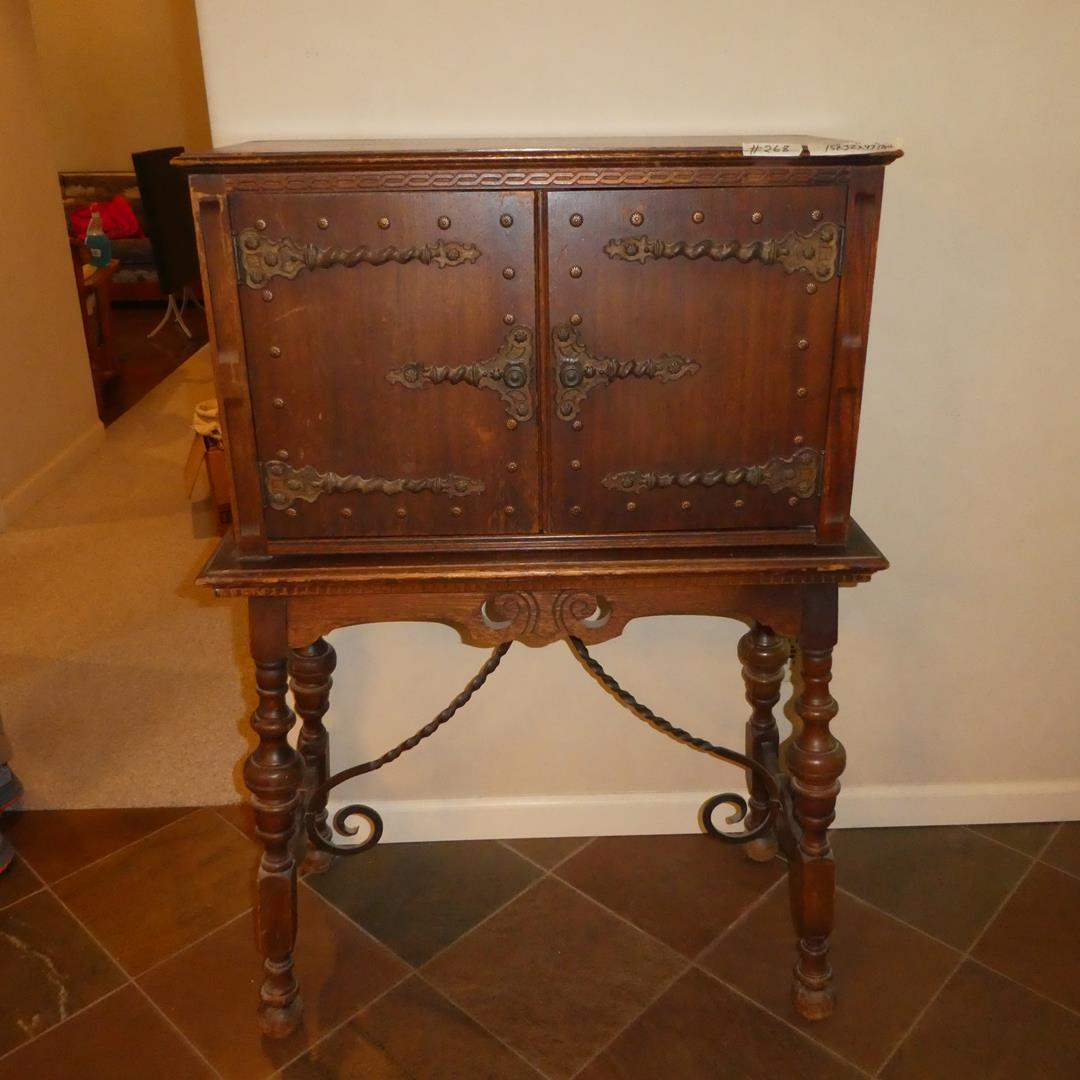 Lot # 268 - Antique/Vintage Wooden Oriental Writing Desk w/Interesting Hardware (main image)