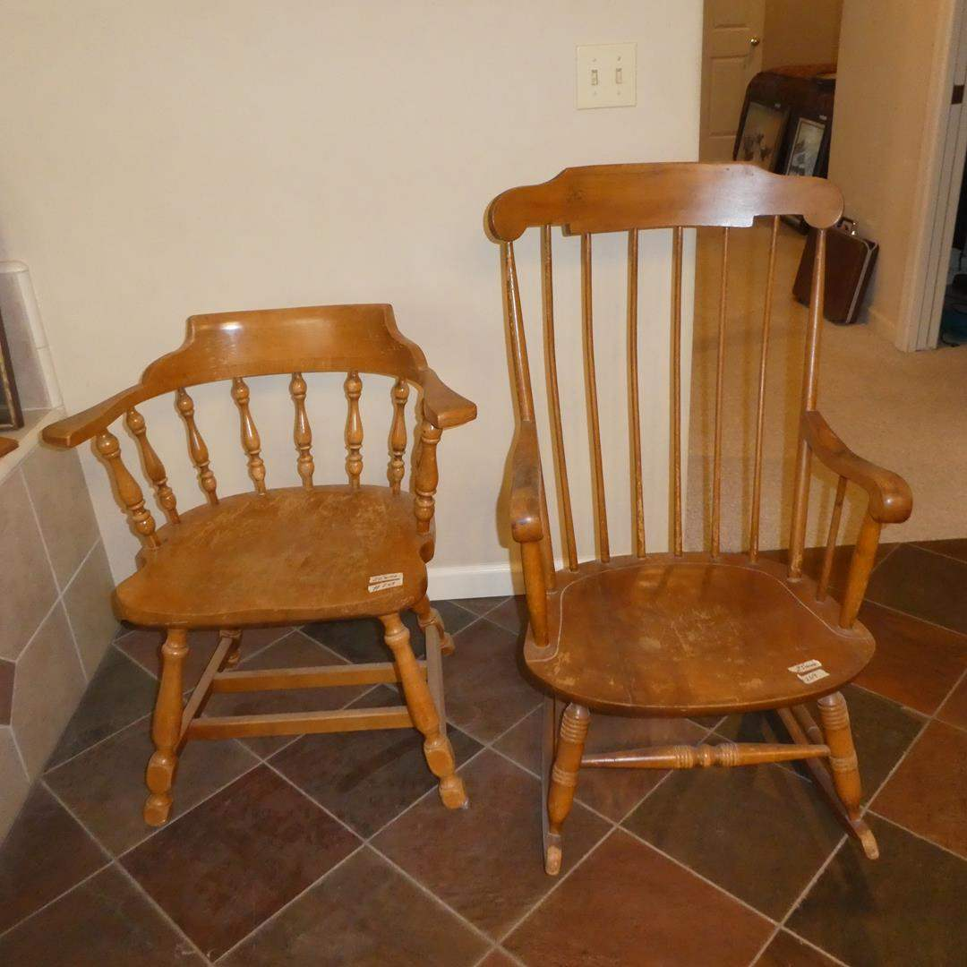 Lot # 269 - Vintage Wooden Accent Chair & Wooden Rocking Chair (main image)