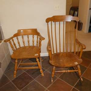 Lot # 269 - Vintage Wooden Accent Chair & Wooden Rocking Chair