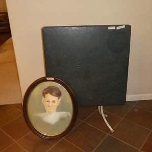 Lot # 270 - Vintage Oval Framed Aunt Oppa Print by Pamela Davis (Slight Convex Glass) & Vintage Tilt Top Combination Table