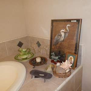 Lot # 271 - Wash Pitcher w/Bowl, Hong Kong Horse Figurine, Shell Collection, Framed Wild Flowers & Framed Sea Birds Print