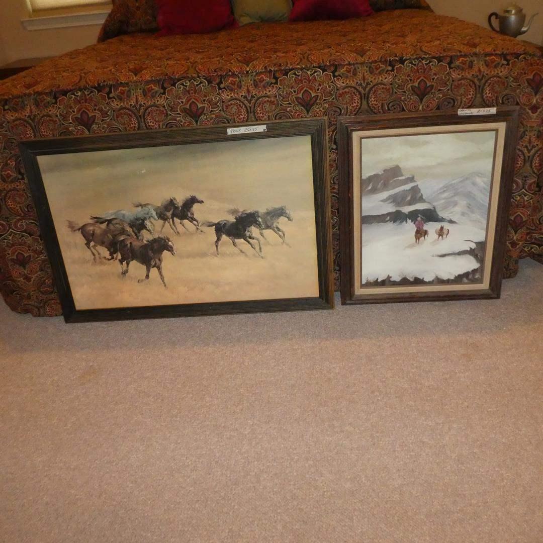 Lot # 272 - Large Framed Western Running Horses Print & Framed Oil on Canvas (main image)