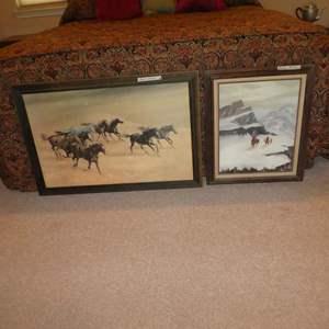 Lot # 272 - Large Framed Western Running Horses Print & Framed Oil on Canvas
