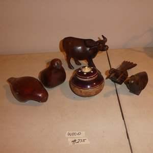 Lot # 275 - Carved Wood Animal Figurines & Lidded Wooden Jar