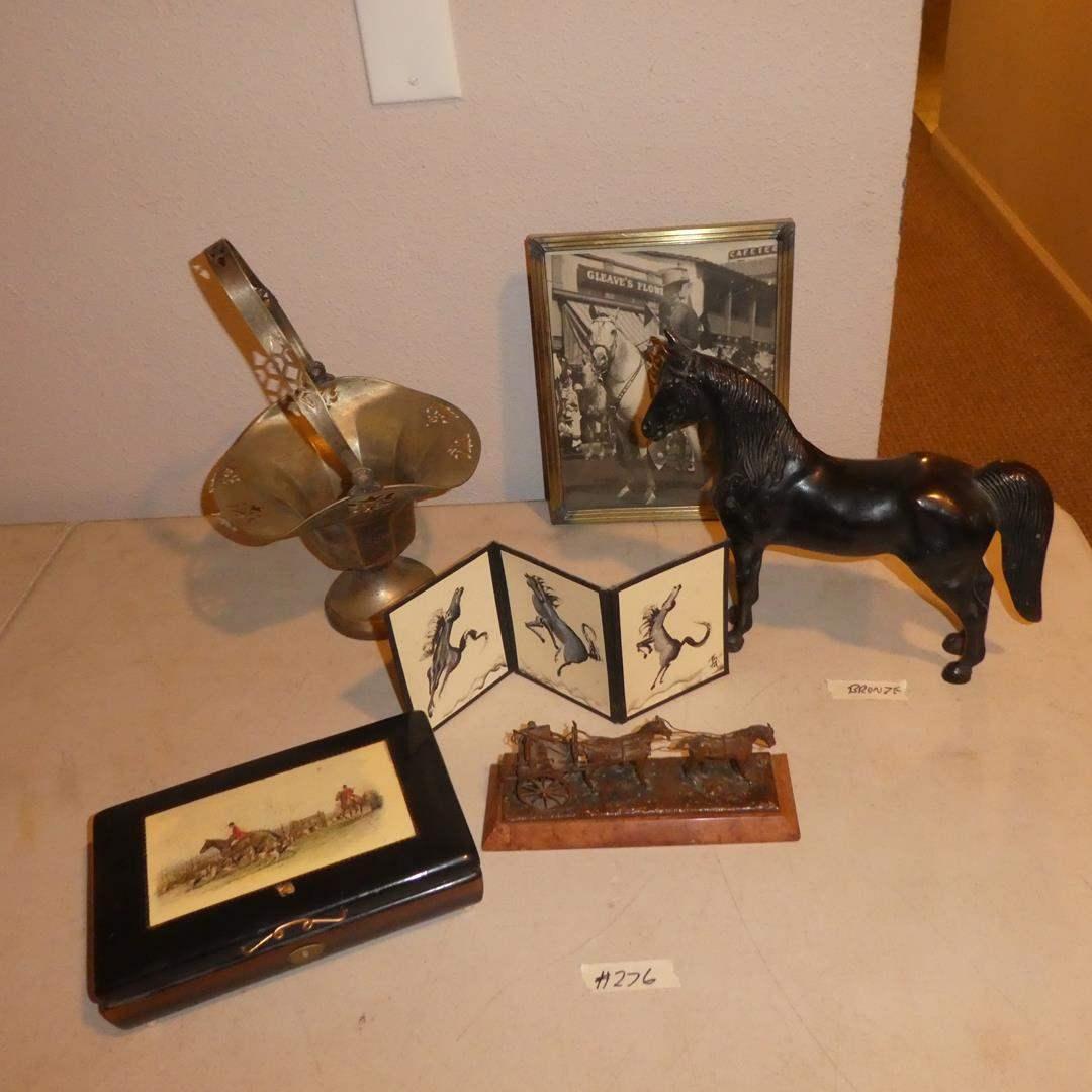 Lot # 276 -Vintage Reuge Music Box, Metal Horse Figurine, Bronze Metal Horse, Framed Vintage Photo & Silver Plate Basket