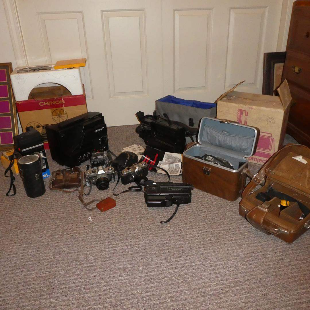 Lot # 288 - Vintage Camera/Video Recorders, Projector, 35mm Cameras, Lenses & Slide Projector (main image)