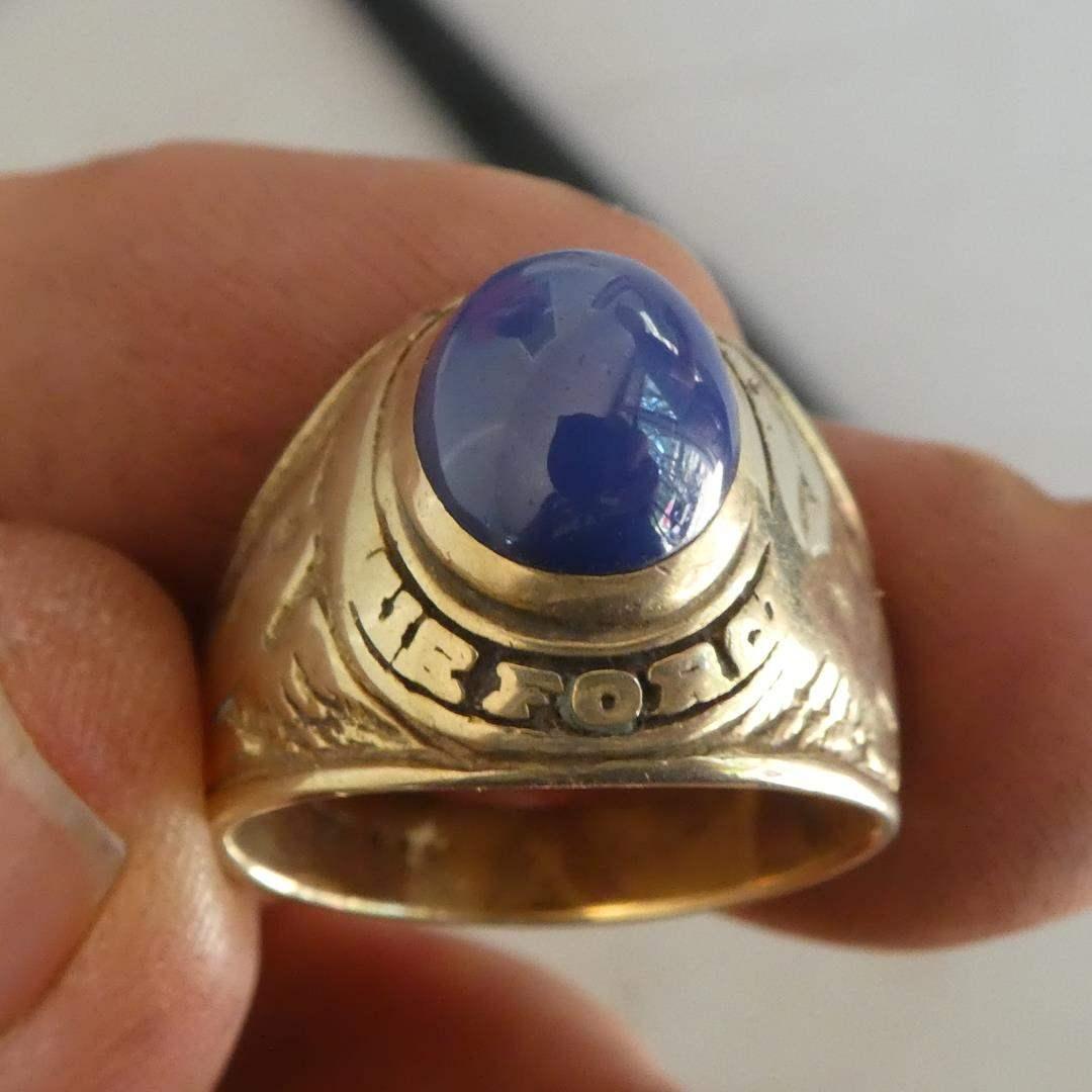 Lot # 292 - Men's Vintage 14K Gold Military Air Force Ring - Size 9½ - 14.6 Grams