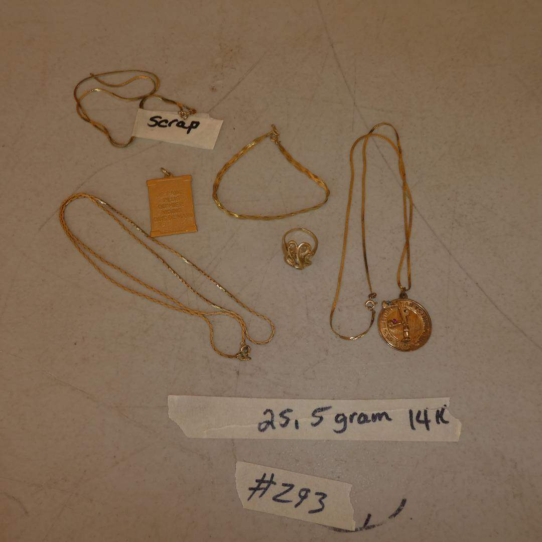 Lot # 293 - Ladies 14K Yellow Gold Chains, Pendants, Ring & Bracelet - 25.5 Grams (main image)