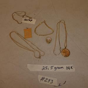 Lot # 293 - Ladies 14K Yellow Gold Chains, Pendants, Ring & Bracelet - 25.5 Grams