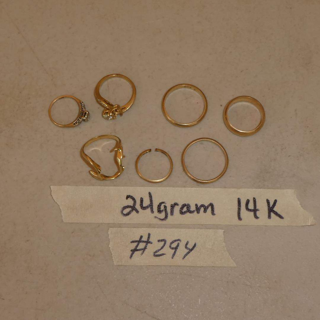 Lot # 294 - 14K Yellow Gold Wedding Bands & Diamond Rings - 24 Grams - See Pics For Sizes