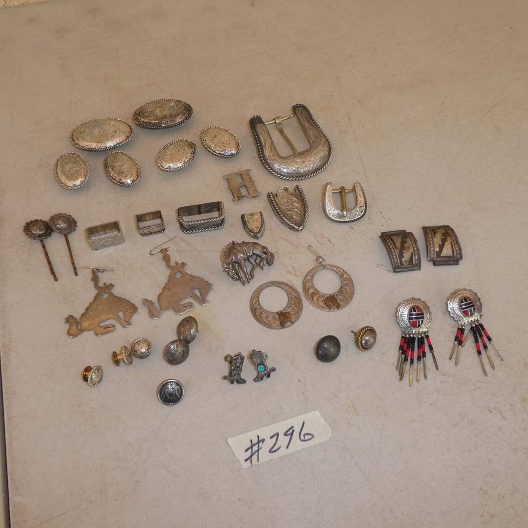 Lot # 296 - Ladies Western Sterling Silver Earrings, Belt Buckles & Concho Hair Pins