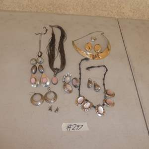 Lot # 297 - Ladies Sterling Silver Earrings, Ring & Pendant Sets
