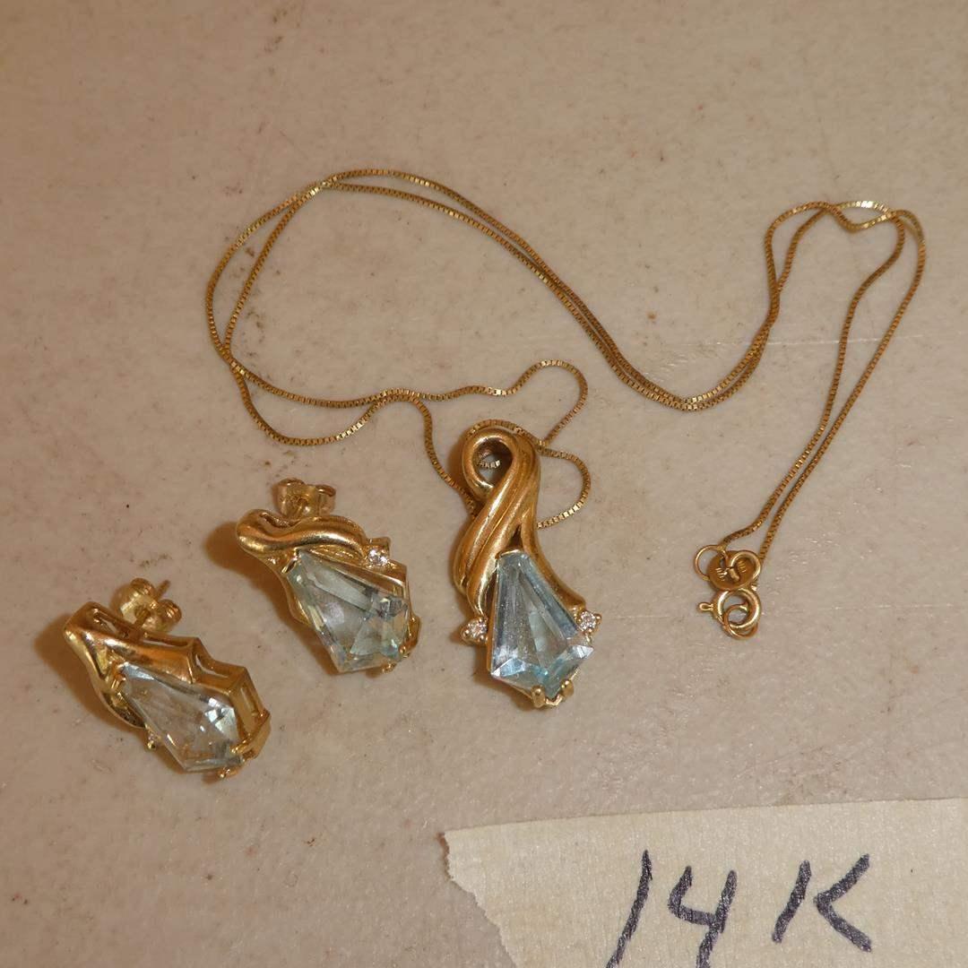 Lot # 298 - Ladies 14K Yellow Gold & Gemstone Pendant w/Matching Earrings (main image)
