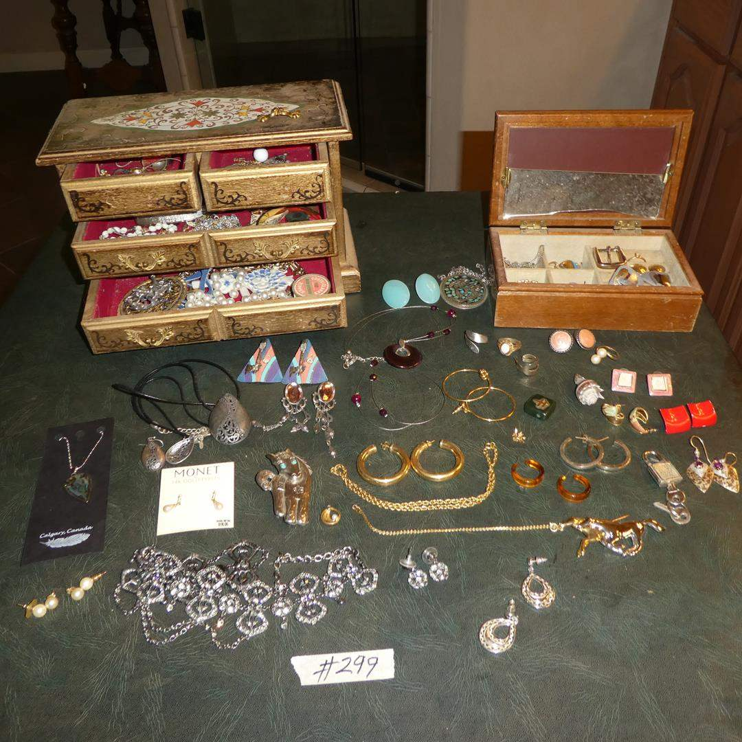 Lot # 299 - Ladies Costume Jewelry, Jewelry Boxes & Possible Gold Hoops (Not Marked) (main image)