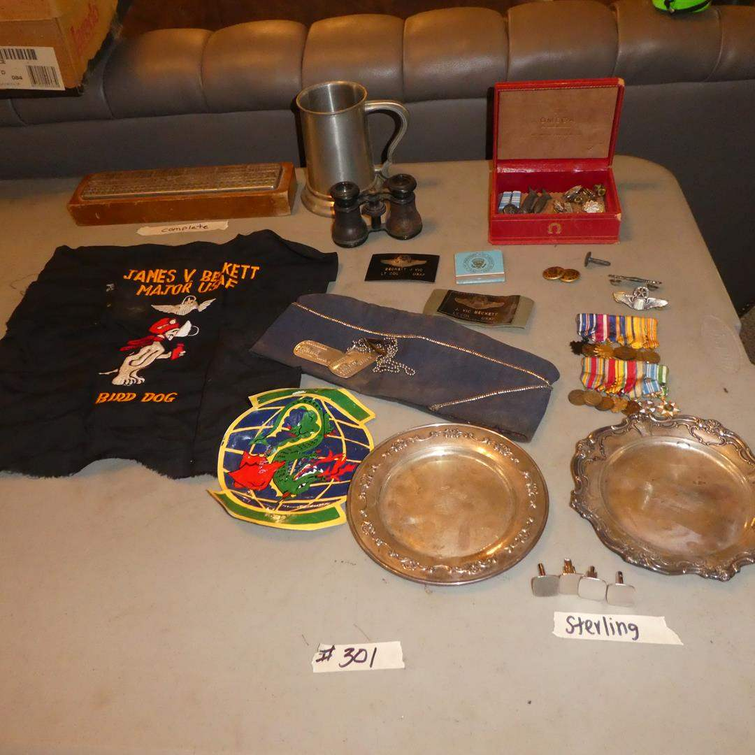 Lot # 301 - Vintage USAF Memorabilia, Sterling Silver Engraved Plates, Cuff Links, Medals, Matches, Stein & More (main image)