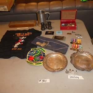 Lot # 301 - Vintage USAF Memorabilia, Sterling Silver Engraved Plates, Cuff Links, Medals, Matches, Stein & More