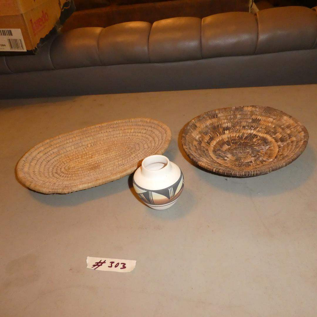 Lot # 303 - Two  Woven Baskets & Small Signed Southwest Vase (main image)