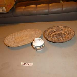 Lot # 303 - Two  Woven Baskets & Small Signed Southwest Vase