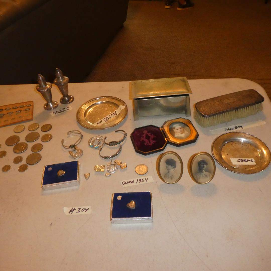 Lot # 304 - Small Framed Antique Photos, Daguerreotype Case, Sterling Plate, Silver Dollar, Sterling Jewelry & Coins