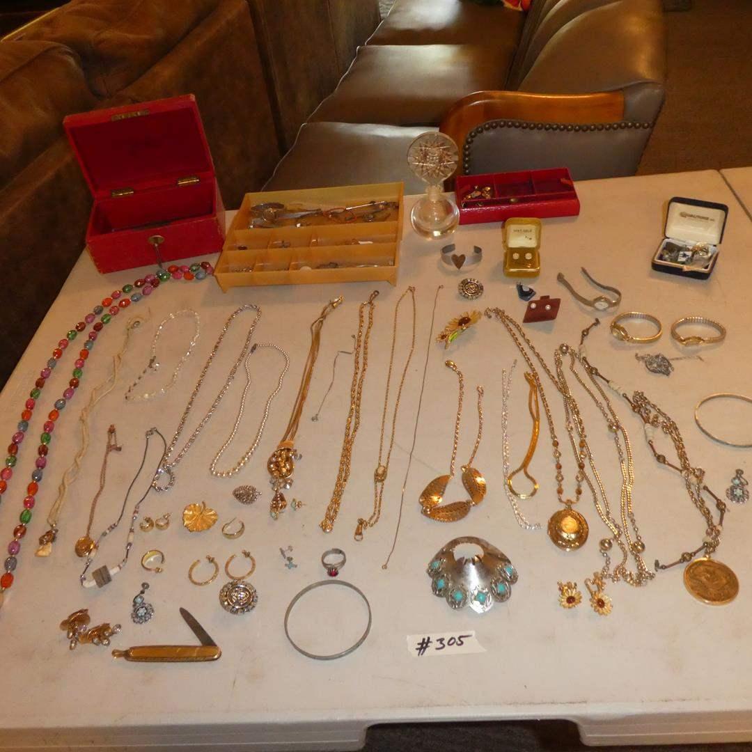 Lot # 305 - Ladies Costume Jewelry, Wristwatches & Glass Perfume Bottle