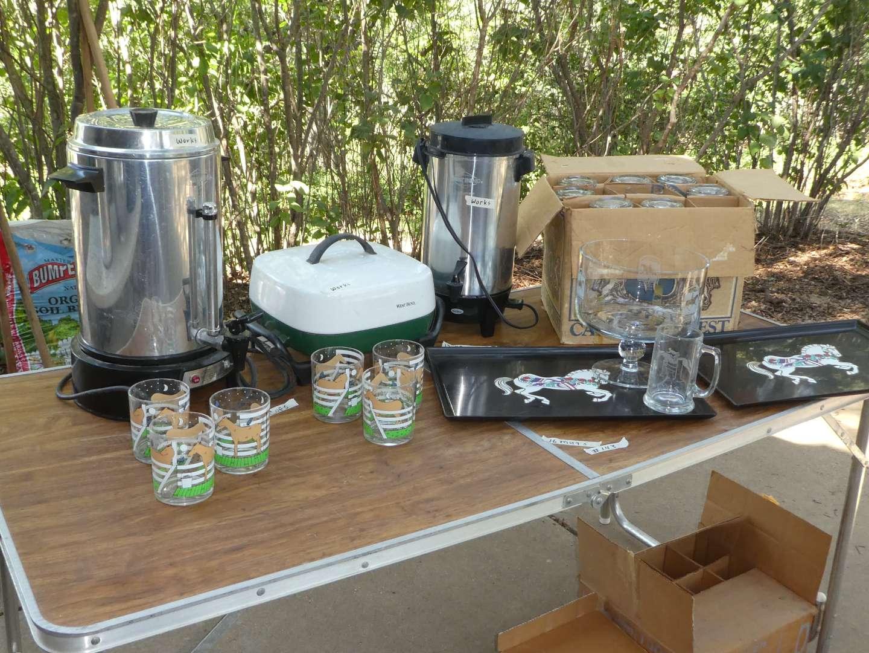 Lot # 143 - Coffee Pots, Glass Mugs & Vintage Trays (main image)