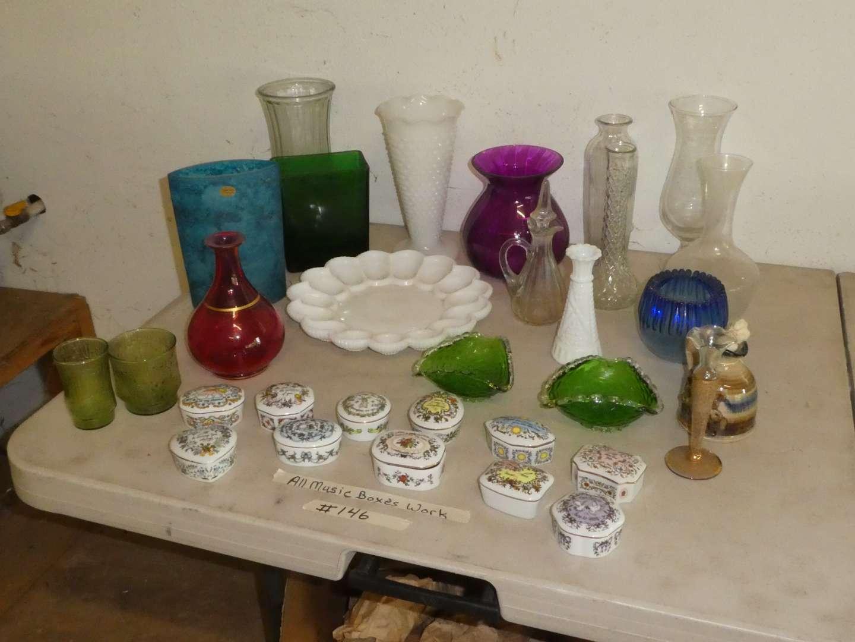 Lot # 146 - 10 Franklin Mint Music Boxes & Vintage Glassware