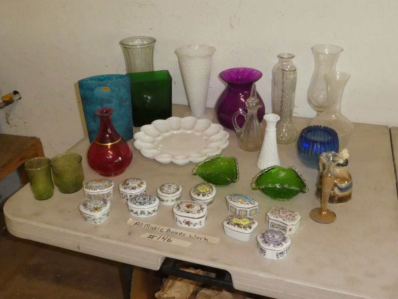 Lot # 146 - 10 Franklin Mint Music Boxes & Vintage Glassware (main image)