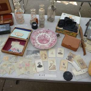 Lot # 149 - Collectible Lot - Civil War Cabinet Photos, Stamps & Old Bottles