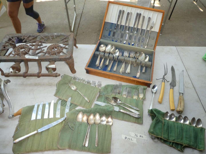 Lot # 152 - Silver-plate Flatware - Griswold Burner( has couple of broken pieces) (main image)