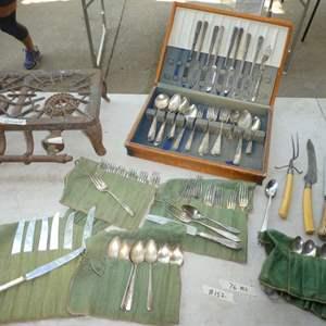Lot # 152 - Silver-plate Flatware - Griswold Burner( has couple of broken pieces)