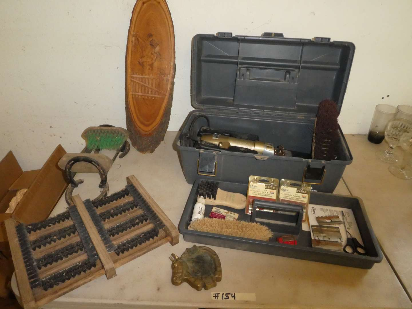 Lot # 154 - Animal Clippers, Boot Sole Cleaners & Brass Horse Tray (main image)