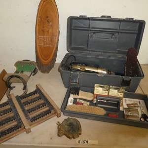 Lot # 154 - Animal Clippers, Boot Sole Cleaners & Brass Horse Tray