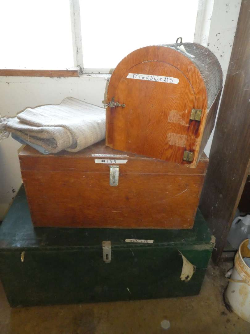 Lot # 155 - 2 Wooden Storage Trunks & Animal Cage (main image)