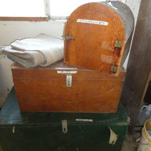 Lot # 155 - 2 Wooden Storage Trunks & Animal Cage