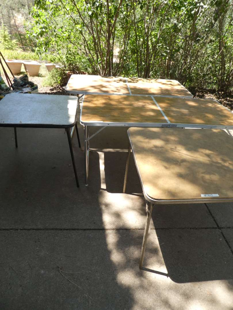 Lot # 160 - Card Tables & Folding Camp Table  (main image)