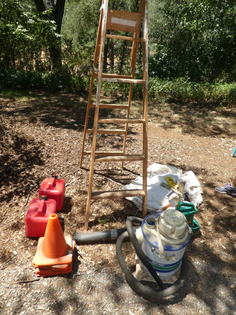 Lot # 164 - Garage Lot, Gas Cans, Cone, Wood Ladder, Old Shop Vac, Drop Clothes & Paint Brushes