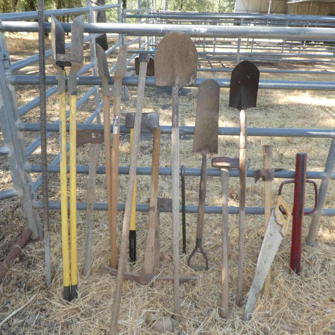 Lot # 1 - Yard Tools - Shovels, Axes, Post Hole Digger, Digging Bar, Post Driver and More!