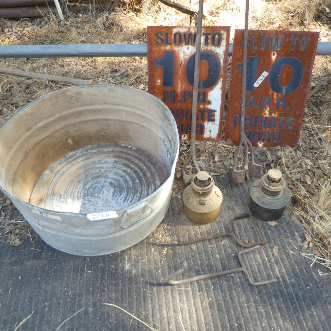 Lot # 4 - Large Galvanized Bucket, Two Vintage Oil Lamps Bases, Meat Hooks, Branding Irons and Metal 10 MPH Signs