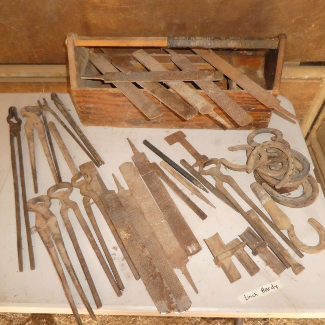 Lot # 10 -  Assorted Hoof Files, Metal Working Tongs, 1in Hardys and Horseshoes