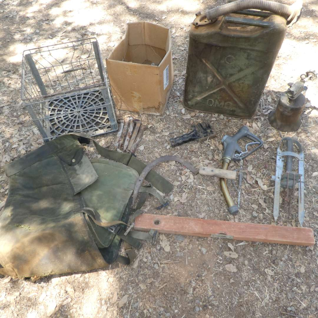 Lot # 20 - Vintage Gas Tank, Metal Crate, Vintage Level, Railroad Nails and More