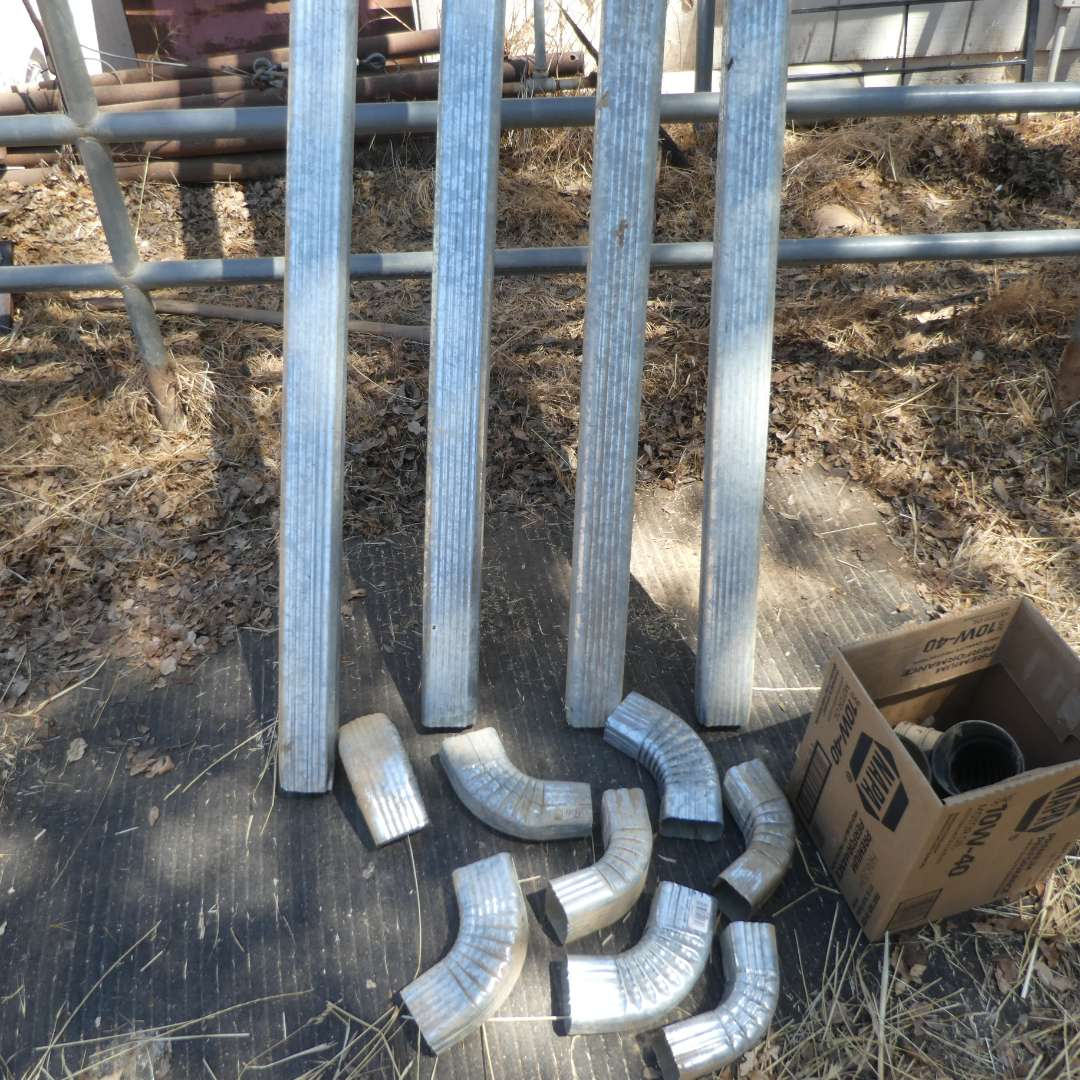 Lot # 21 -  Four 10 Ft. Galvanized Metal Down Spouts and Attachments  (main image)