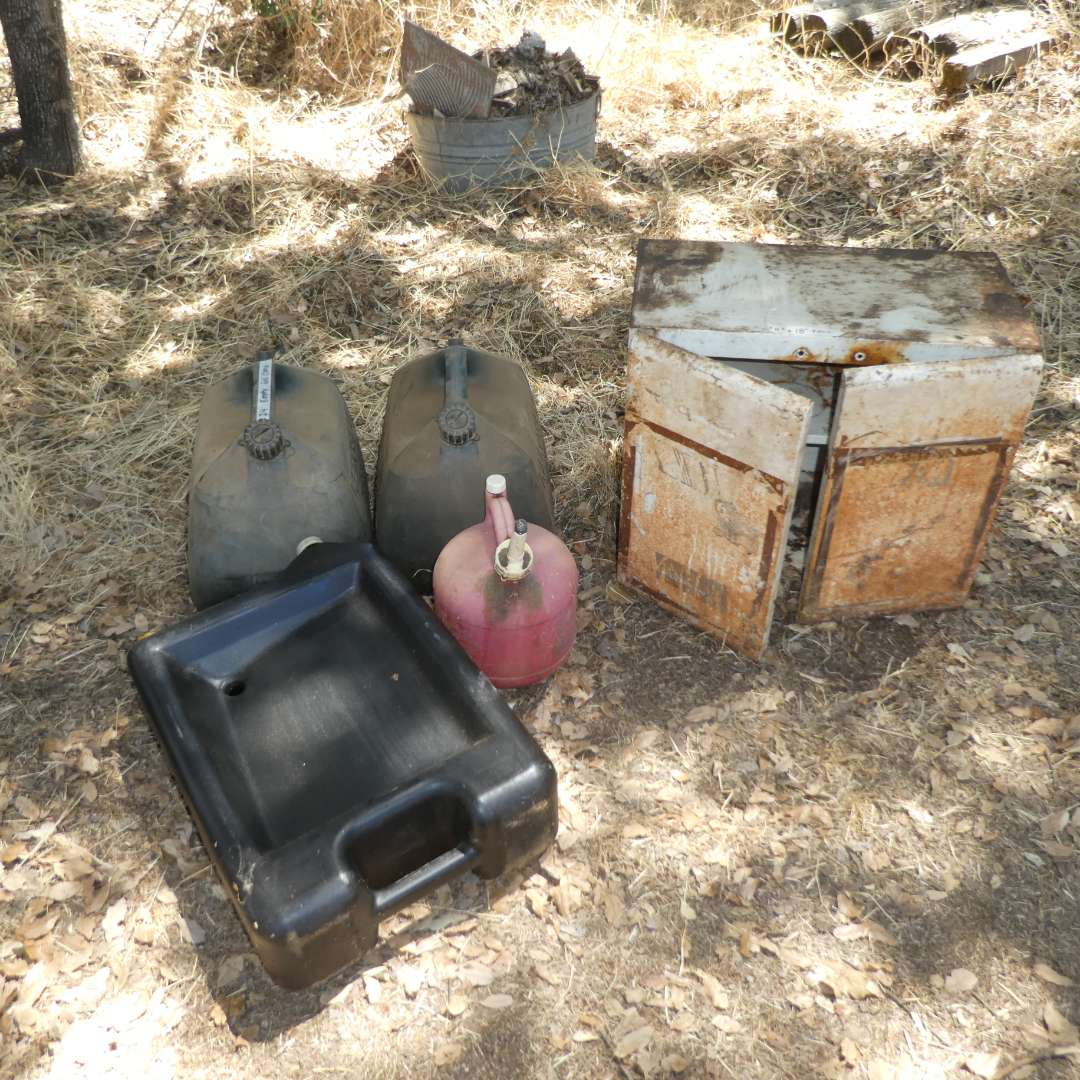 Lot # 24 - Oil Drain Pan, Empty Gas Cans and Vintage Shop Cabinet