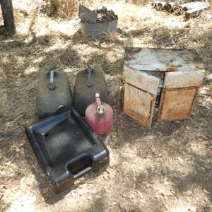 Auction Thumbnail for: Lot # 24 - Oil Drain Pan, Empty Gas Cans and Vintage Shop Cabinet